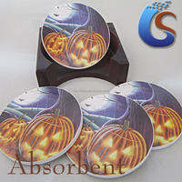 Hallowmas jack-o-lantern design-Decal round ceramic coasters/cup mat set with cork and wooden box