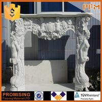 top seller Delicate white marble fireplace mantles