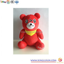 Hot 3D Cute Custom Stuffed Red Bear Plush Toy