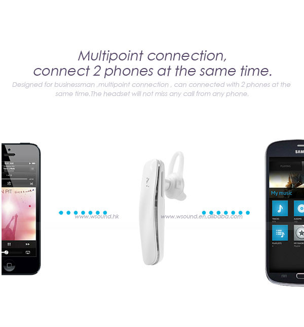 2014 New Coming W-sound Super Slim Design Best Invisible Wireless Stereo Headset Bluetooth