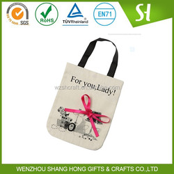 OEM Manufacture Casual Canvas Tote Bag for Ladies,High Quality Cheap White Handbags for Promotion