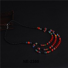 2015 Hot Sell Ethnic summer Turquoise Glass alloy Sweater Chain