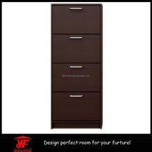 Hot Sale Home Storage Space Saving Walnut 4 Tier Wooden Shoe Cabinet Door Shoe Rack