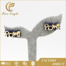Wholesale Jewelry At Lowest Price Gold POW Stud Earrings Fashion Earrings