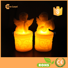 Set of 2 Flameless Wax LED Battery Operated Lovely Music Angel Candles