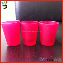 Factory outlet low price 1.75oz capacity beauty shot frosted pink glass