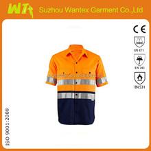 2013 High Visibility Orange color Reflective Shirt;100%cotton Reflective Long Sleeve Shirt/ 3M Orange Safety Shirt