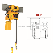2015 hto!!!!1 ton electric chain hoist with electric trolley