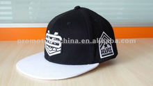black and white custom embroidered 5 panel baby hat snapback cap
