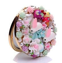 YWZL costom 7*7cm Ladies Handbag Cosmetic Mirror, Double Sided Magnifying compact mirror, Vanity Makeup Pocket Mirrors