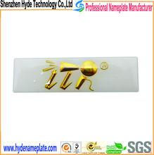 Promotional Wholesale custom metal gold epoxy aluminum sticker