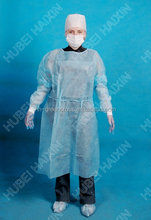 2015 cheap and fine disposable nonwoven waterproof isolation gown for hospital use