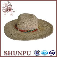 zhejiang shunpu handmade paper raffia straw floppy hat with beads