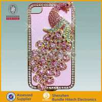 For iphone 4/4s creative peacock pattern 3D bling crystal diamond case,various patterns