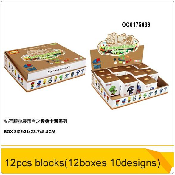 Caliente 2014 12 cajas loz nano bloques de juguete( 10 diseños mixtosdesignes) oc0175639