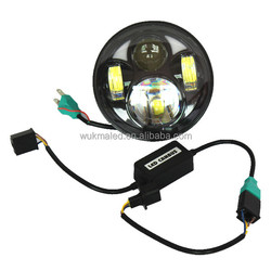 """Harley 5-3/4"""" 5.75 Inch Motorcycle H4 H13 High/low LED Headlight Projector Headlamp with Halo Angel Eye Replace HID Halogen"""
