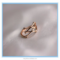High polishing plating 14K real gold stainless steel charming darry ring