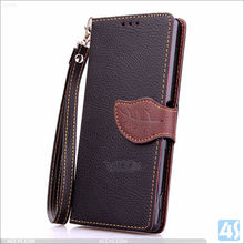 2015 New Leather Wallet Case for Sony Xperia Z4, With Leaf Pattern Clip Wallet Leather Mobile Phone Bag For Sony Xperia Z4