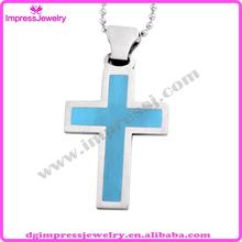 IJD0181 cheap stainless steel blue enamel charm laser blue cross pendant