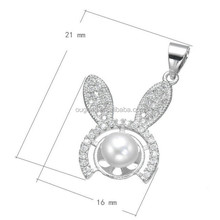 2016 women silver pet jewelry crystal rhinestone pearl silver plating rabbit necklace
