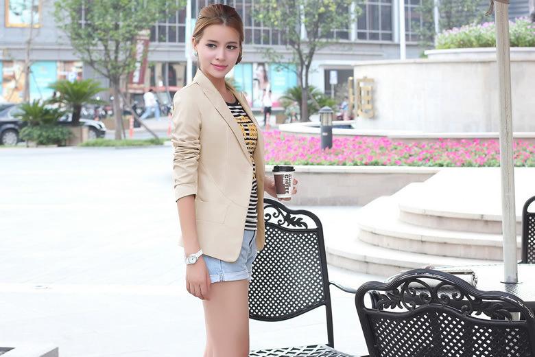 Женщины пиджак FeМиниno свободного покроя женское с лацканами хлопок сплошной цвет длинная рукавами черный белый хаки пиджак