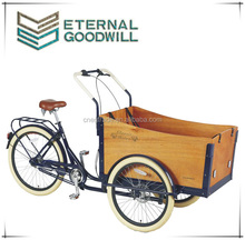 Ault tricycle/three wheel bicycle/cargobike/tricycle with wooden box Cargo bike NY-UB9032-N7SP