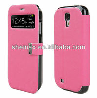 2015 shemax Alibaba Express China Smart View Window Flip Cover Folio Case for Samsung Galaxy S4 SIV S IV i9500-Hot pink