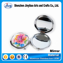 cheap small scenery landscape embossed cosmetic mirrors for makeup