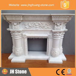 JH Prefabricated White Marble Fireplace Carved White Marble Fireplace Mantel for Sale