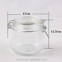 Glass weck pot with glass lid and tag and rope inside,500ml
