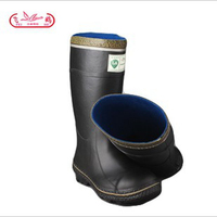 High quality mining half rubber boots with green collar