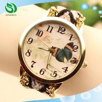 Quartz Women's Butterfly Watches Golden Case Fabric Band Bracelet Watch