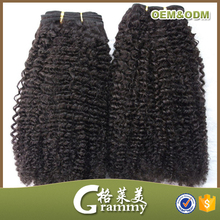 2015 New product wholesale high quality grade 7a kinky curly cheap human hair weaving
