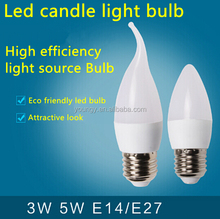 wholesale bridgelux chip white golden candle e27 e14 e12 base led candle light bulbs