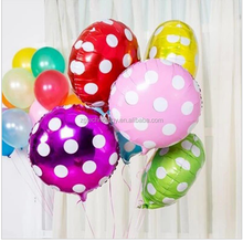 New arrivel 10 PCS/lot 45 * 45 cm round dot balloon sticks and cup for childs toys Aluminium helium balloon