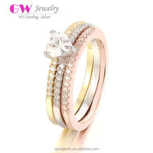 High Quality Gold engagement Three Color Friendship 925 Silver China CZ Rings