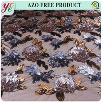 Hot sale floral patterns shiny sequin beads embroideried net mesh embroidery fabric