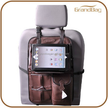 High Quality Multi-function Back Car Seat Luxury Custom Leather Car Organizer Travel Car Organizer with Ipad Holder