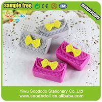 Low cost educational toys china hot cute ice cream shape eraser handbag