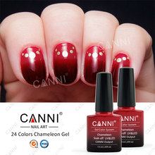 50801X New Arrival CANNI 24 Colors Nail Art 7.3ml Soak off UV/LED Chameleon Themral UV Nail Color Changing Gel Polish