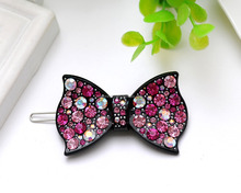 Wholesale Pink And Colorful Crystals Resin Bow Side-knotted Clip Hair Pins