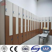 Fujiahua wooden/plain color waterproof changing room /sport centers/spas Hpl lockers and benches