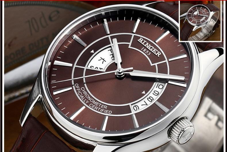 Профессиональный изысканный полые дизайн часы автоматические механические мужские официальные часы коричневый кожаный бизнес Binger наручные часы