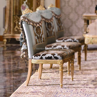 Luxury French Empire Dining Chair/European Claissc Marquetry Art Dinging Room Furniture/Royal Dining Armchair, Armless Chair