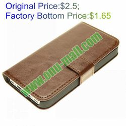 Wallet Card-slot PU Leather Cell Mobile Phone Case for iPhone 4S