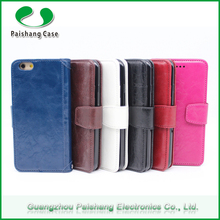 Custom Oix wax slim 7 colors smart phone leather wallet flip cases with card slots for galaxy S6 / s6 edge