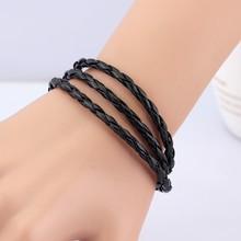 hot new products Fashion Leather Bracelet With Charm bangles multi layer wrap design leather bracelet men unisex fashion jewelry