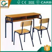 School furniture double student desk and chair moulded panel table