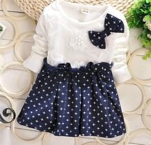 fashion polk dot long sleeve design children girl cotton dress plain dresses toddler girls