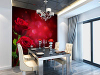 wholesale Eco-friendy 3d huge mural romantic wedding room decoration red loving roses for bedroom & sofa tv wallpaper murals